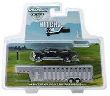 1:64 GreenLight *Black* 2018 Ram 3500 Dually Pickup w/Livestock Trailer Nip