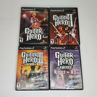 Guitar Hero 1 2 3 Encore Rocks the 80's I II III Playstation 2 PS2 Lot 4 Games