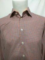 Eton Sweden Blue Orange Check Plaid Long Sleeve Shirt Mens Size 39/15.5