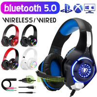 Pro Gaming Headset W/ Mic LED XBOX One Wireless/Wired Headphones Microphone Beat