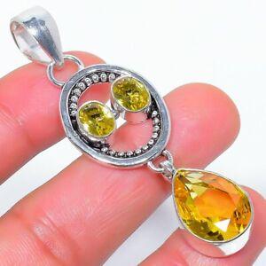 "Aaa+++ Citrine Gemstone 925 Sterling Silver Jewelry Pendant 2.6"" W2471"