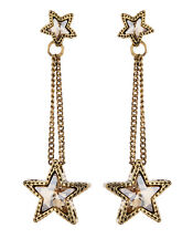 CLIP ON EARRINGS - gold drop earring with crystal stars - Kalidas G
