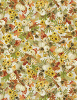 Timeless Treasures Harvest Pumpkins Fall Foliage Cream Metallic Cotton Fabric