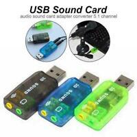 Mini External USB5.1 3D Audio Sound Card Mic Headphone Adapter Stereo Jack Z9X7