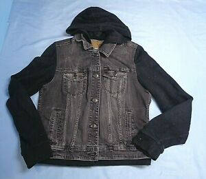 Women's . American Eagle . Washed Black Denim Hooded Jean Jacket . Sz. XL