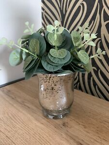 Artificial Eucalyptus in Silver Speckled Glass Vase Home Decoration