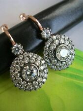 925 Sterling Silver Cz White Round Cluster Dangle Women Earrings Wedding Gift Nw