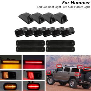 14x Smoked Front Rear LED Roof Cab + Side Marker Lights Set For Hummer H2 03-09