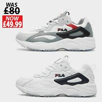 FILA Mens RAY TRACER Trainers Shoes - WHITE - Size 6 to 12 *RRP£𝟾̶𝟶̶ *NEW