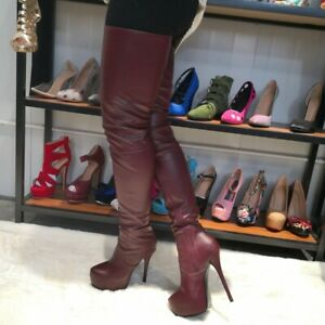 Sexy Stilettos Platform Over Knee Thigh High Boots Ladies Leather Shoes Clubwear