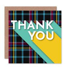 Who Cares Scotland Thank You Tartan Typography Premium Greetings Card