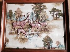PUFFY DEER IN WOODS FRAMED PICTURE VINTAGE CLOTH HUNTING CABIN MANCAVE