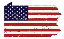 Pennsylvania State (J39) USA Flag Distressed Vinyl Decal Sticker Car/Truck