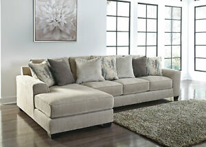 NEW Contemporary Sectional Living Room Couch Set - Gray Chenille Sofa Chaise G0T
