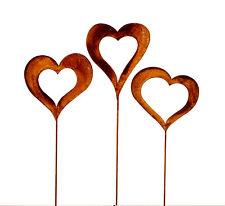3 x Gartenstecker Set Herzen ca. 60cm Metall Rost Gartendeko Edelrost groß Herz