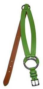 $295 Polo Ralph Lauren Equestrian Tri-Strap Leather Ring Belt Green Silver Large