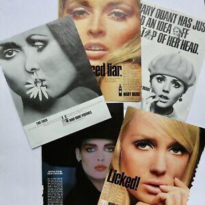 60s 70s vintage Mary Quant fashion make-up perfume magazine advert x 5