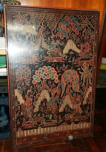 ANTIQUE BURMESE LACQUERWARE~HAND ENGRAVED WALL ART~RARE LARGE SIZE~24 X 36 INCH