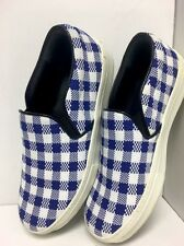 Céline Shoe Royal Blue And White Check Fabric Loafer Size 37 New