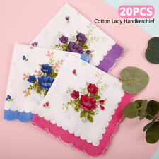 20X Lot Ladies Women Vintage Cotton Quadrate Hankies Floral Handkerchief Decor
