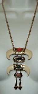 Vintage signed HMS faux horn lucite pendant NECKLACE dangles costume jewelry