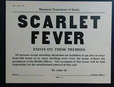 Vintage Scarlet Fever Warning Quarantine Paper Sign Minnesota State Health