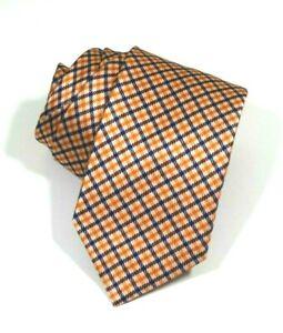 $240 NWOT Brioni Orange Navy blue Geometric squares Gingham men's silk tie ITALY