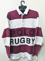 VINTAGE RALPH LAUREN POLO RUGBY SPELL OUT STRIPED SHIRT STADIUM P WING LO LIFE