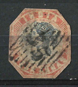 INDIA 1854 4A Red & Blue SG19 Cut to Shape, Used