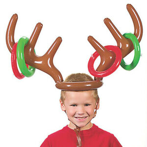Inflatable Reindeer Antler Hat Ring Toss Game Xmas Holiday Party Toys Gift