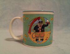 Catamaran Mug by Nancy Carlson 1985 Sailor Cat Fish Tropical Ocean Palm Trees