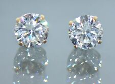 14K Solid Yellow Gold Round Brilliant Cut Screw Back Stud Earrings 0.50(TCW)