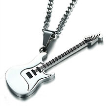 Stainless Steel Music Jewelry Electric Guitar Pendant Necklace Sweater Chain 1PC