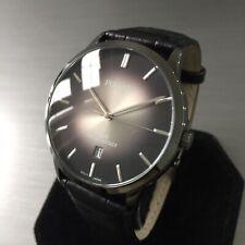 Mens Pulsar Dress Watch By Seiko Black Ion Steel Leather Genuine VJ42-X225