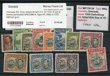Grenada KGVI 1938-50 set of 12 SPECIMEN perfs SG152s/63s MNG