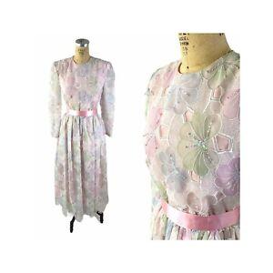 1980s pastel floral sequin tea length sheer dress by Richilene