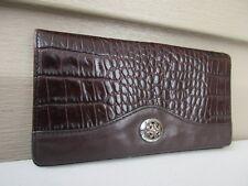 Brighton Leather Wallet Organizer Brown Croc Credit Card Holder