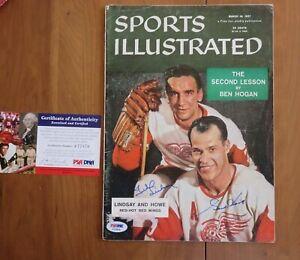 Gordie Howe Ted Lindsay Signed March 18,1957 Sports Illustrated Magazine PSA COA