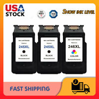 3 Pack PG-245XL CL-246XL Black & Color Ink for Canon PIXMA MG2522 MG2520 TS3122