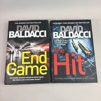 2 x David Baldacci Books The Hit and End Game Hardback Book Bundle