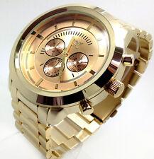 419c Men New Fashion Wrist Watch Elegant Gold Strap Chronograph Round Large Dial