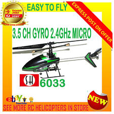 Micro RC Helicopter Remote Control Gyro 2.4GHz SH 6033 Shark 3.5CH LCD RTF Model