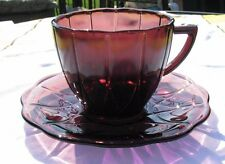 Vintage Hazel Atlas Hairpin Newport Amethyst Glass Tea Cup and Saucer