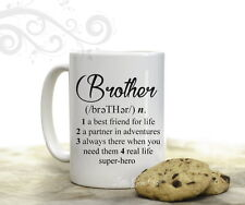 Brother Dictionary Definition Coffee Mug for Birthday Best Bro 15 oz Coffee Cup