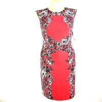 NEW 12 Large Dress R&K Sheath Coral White Black Floral Stretch Career Sexy Date