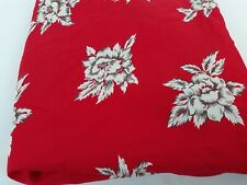 """Vintage 40s Red & White/Gray Rayon Floral Fabric 2.75 yards 60"""" x 101"""""""