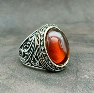 925 Sterling Silver Natural Red Amber Stone Oval Shape Men's Ring. Size 10