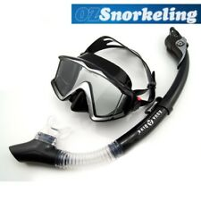 Aqua Dive Black Snorkeling Mask Set Dry Snorkel Tempered Glass Liquid Silicone