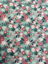Makower Fruity Friends Floral Teal Cotton Fabric By The Half Metre