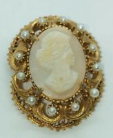 """Florenza Signed Vintage Cameo Gold Tone Carved Shell 1 3/4"""" x 1"""""""